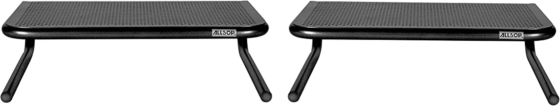 Allsop Metal Art Jr. Monitor Stand, 14-Inch wide platform holds 40 lbs with keyboard storage space - Pearl Black, 2 Pack