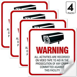(4 Pack) Video Surveillance Sign 5½x5½