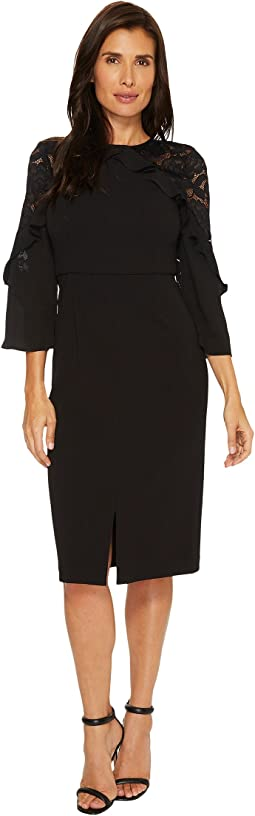 Ivanka Trump - Scuba Crepe Midi Lace Sleeve with Ruffle