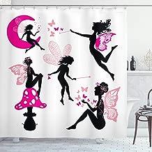 Ambesonne Fairy Shower Curtain, Girl Silhouettes Sitting on Moon Mushroom Winged Dreamy Cartoon, Cloth Fabric Bathroom Decor Set with Hooks, 70