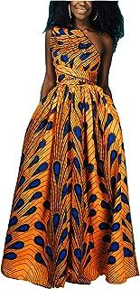 FEIYOUNG Women's Sexy Dashiki Floral Printed Side Slit Long Maxi Dresses Bohemian High Waist Vestidos