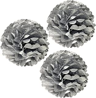 Wrapables Tissue Pom Poms Party Decorations for Weddings, Birthday Parties and Baby Showers, 12-Inch, Metallic Silver, Set of 3