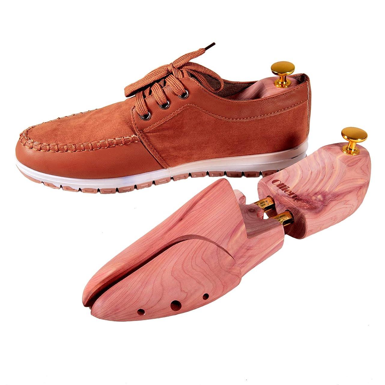 Olive Cedar Shoe Trees Dual Tube Split Toe Adjustable Shoe Stretcher for Men woo191632461820