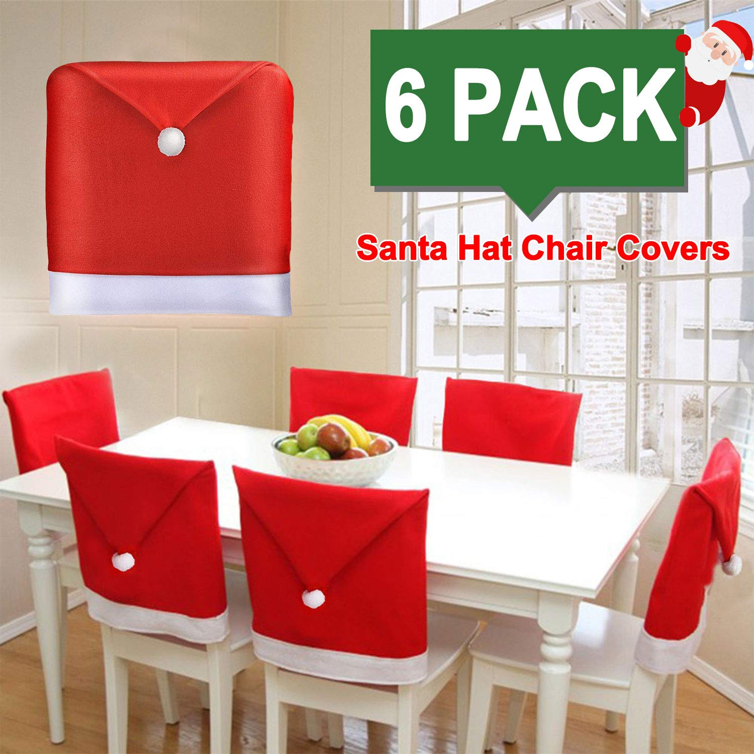 Christmas Chair Covers Santa Hat Chair Back Covers Xams Chair Covers Caps  Slipcovers Set for Christmas Festive Home Dinner Table Chairs Decoration