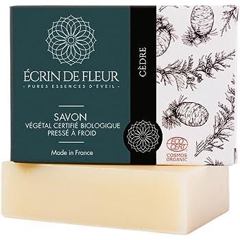 Écrin De Fleur   Jabón de Cedro   Certificado Orgánico   Jabón con Madera de Cedro y Pachulí   Hecho a Mano en Francia   Saponificación en Frio   sin Aceite de Palma   100g