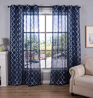 Kotile Kids Room Navy Blue Sheer Curtains, Grommet Top Window Treatment with Silver Moroccan Tile Print Short Curtains for Bedroom, 52 x 63 Inch, Set of 2 Panels