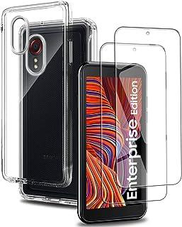 Coque Samsung Galaxy XCover 5 Silicone Transparente + 2X Verre Trempé écran Protecteur, Ultra Mince Souple TPU Étui Housse...