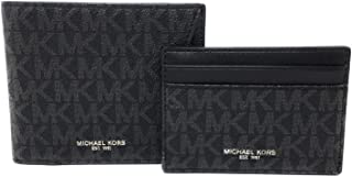 Michael Kors Mens Set Two Piece Leather Billfold Wallet With Card Case (Black PVC)