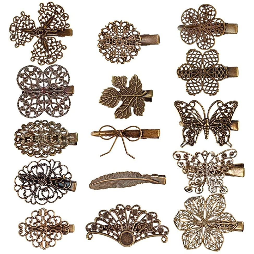 Hapdoo 15 Pack Vintage Hair Clip Leaf Flower Butterfly Shape Hair Pins Headwear Lady Hair Accessories sbevyrvc701