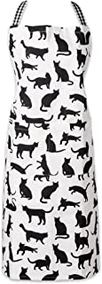 DII 100% Cotton, Everyday Basic Home Kitchen, Restaurant, Adjustable Neck and Waist Ties, Front Pockt, Pet Lover, Printed Chef's Apron-Cat's Meow