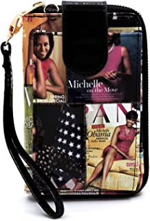 Glossy magazine cover collage Michelle Obma printed crossbody wallet purse with outside cellphone pocket