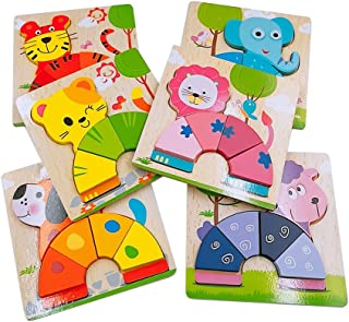 DreamsEden Wooden Jigsaw Puzzles for Toddlers Animals Chunky Puzzles Educational Toys for Kids Boys Girls, Free Drawstring Bag for Easy Storage (Elephant/ Dog/ Tiger/ Sheep/ Lion/ Cat)