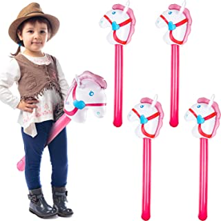 4 Pieces Inflatable Stick Horse Cowgirl Horse Head Stick Balloon for Theme Birthday Party Decoration Supply, 37 Inches, Pink