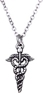 LIKGREAT Caduceus Symbol Double Snake Sign Medical Pendant Necklace for Doctor and Nurse