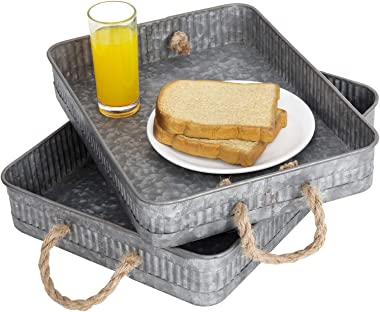 MyGift Rustic Silver Galvanized Metal Nesting Serving Trays with Rope Handles, Set of 2