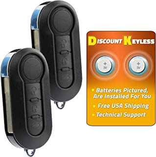 Discount Keyless Replacement Uncut Car Remote Fob Key Combo Compatible with Fiat 500 LTQF12AM433TX (2 Pack)