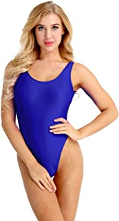 4c5876800ea TiaoBug Women's Retro 80s/90s Inspired High Cut Low Back One Piece Bodysuit Bathing  Suits
