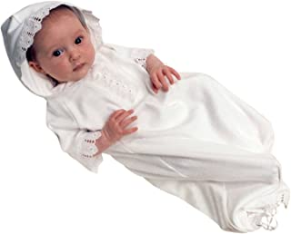 Baby Gown White Organic Cotton and Lace Infant Button Hoodie Bunting