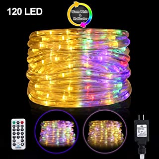 Ollny Led Rope Lights 120 LED 23ft Color Changing Lights Multi Color and Warm White Waterproof LED Lights 11 Modes Twinkle Tube Light connectable Plug with Remote Control Timer for Indoor and Outdoor