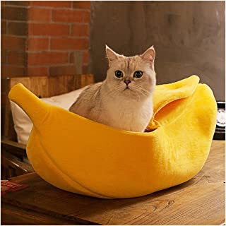 WORDERFUL Stylish Pet Dog Cat Banana Bed House Pet Boat Dog Cute Cat Snuggle Bed Soft Yellow cat Bed Sleep Nest for Cats Kittens