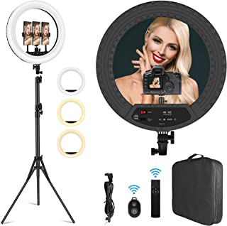 18 inch Ring Light Professional Lighting Kit with Stand Phone Holders for Photo Studio LED Lighting for Cameras Portrait Photography/Makeup/Vlogging/Live Streaming Equipments Dimmable