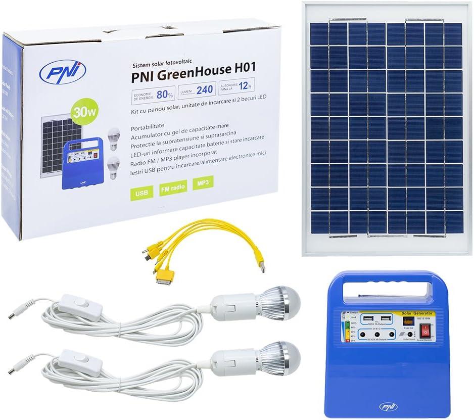 PNI Panel Solar, Sistema de energía Solar portátil, generador de energía Greenhouse H01 30W con batería de 12V / 7Ah, USB/Radio / MP3, 2 Bombillas LED