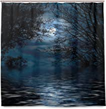JOSENI Shower Curtain, Witchcraft Spell Ceremony Atmosphere Forest Full Moon Branches Customized Bathroom Shower Curtain Set with Hooks, W72 xH84