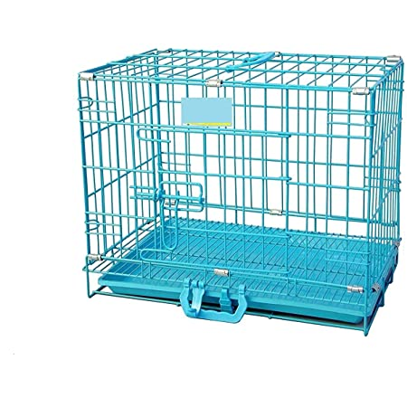 RvPaws Dog Cage - Powder Coated, Single Door Folding Metal Cage/Crate/Kennel with Removable Tray and Paw Protector for Dogs, Cats and Rabbits - 18 Inch - Blue