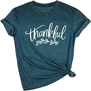 YUYUEYUE Thankful Feathers T Shirt Women Thanksgiving Christian Letter Print Short Sleeve Tops Tees