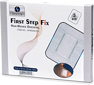 First Step Fix Non-Woven Adhesive Wound Dressing 5 Pieces, 10 cm Length x 9 cm Width, White