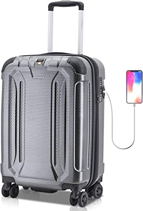 Villago Hard Shell Carry On USB Port Polycarbonate 8 Wheel Spinner with Slash Proof Zipper TSA