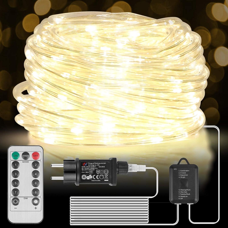 Manguera de Luces Exterior 15m 200 LED, Manguera de Luz LED con Control Remoto y Temporizador, 8 Modos y Brillo Regulable,Tubo de Luz LED con Enchufe de la UE para Jardines, Navidad, Bodas, Fiestas