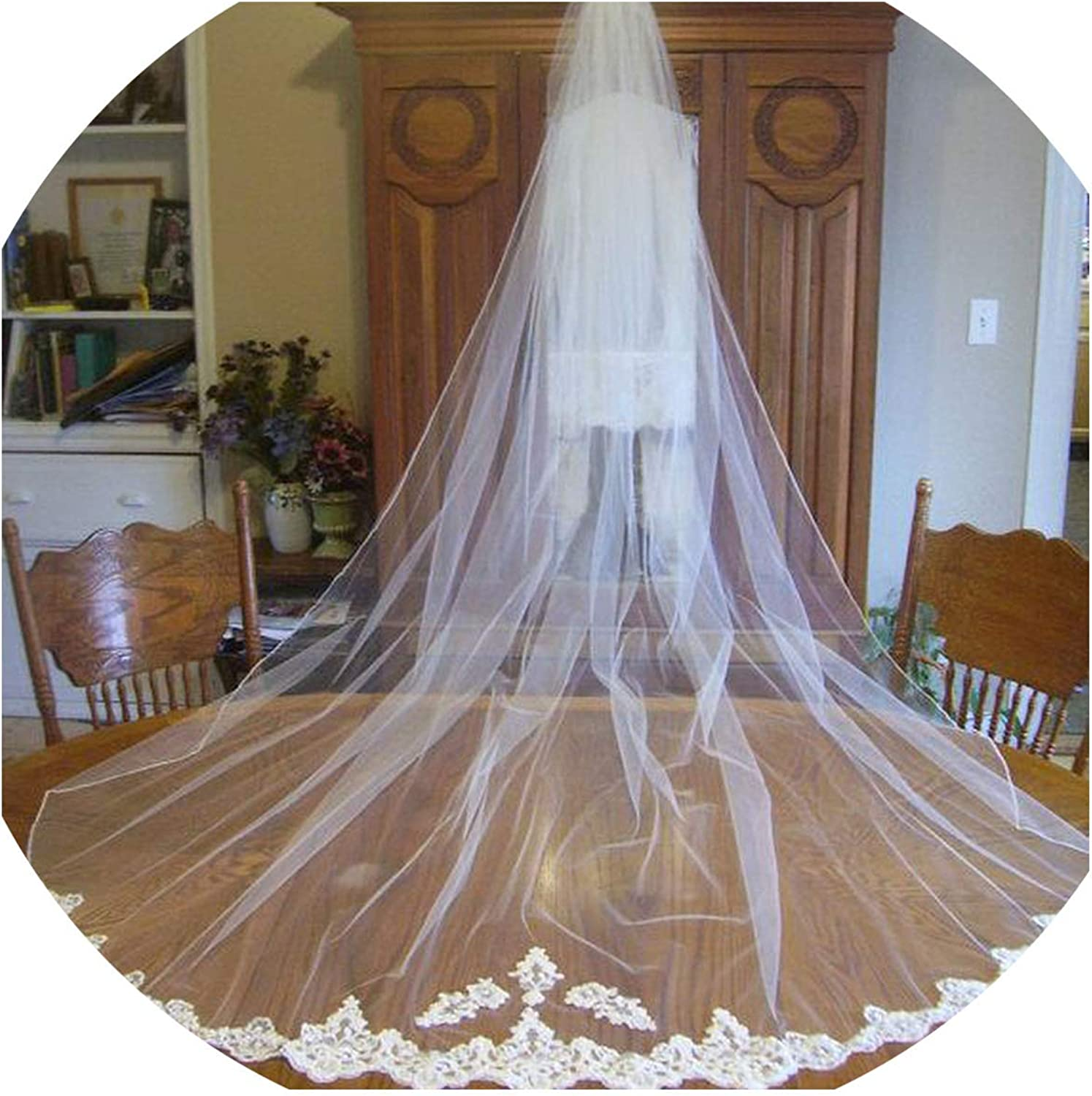 3M White Ivory Wedding Veil Elegant 2 Layers Cathedral Length Lace Edge Bridal Veil With Comb Wedding Accessories,White