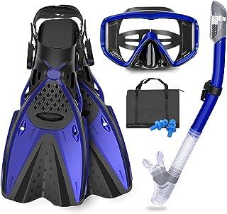 GoOsprey Mask Fins Snorkeling Gear for Adults Men Women, Swim Goggles 180° Panoramic View Diving Mask Anti-Fog Anti-Leak&D...