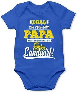 Shirtracer Sprüche Baby - Egal wie Cool Dein Papa meiner ist Landwirt - Baby Body Kurzarm für Jungen und Mädchen