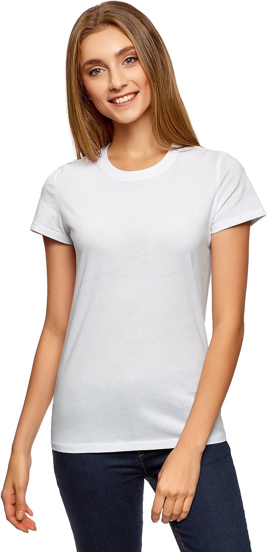 oodji Ultra Femme T-Shirt en Tissu Ajour/é /à Manches 3//4
