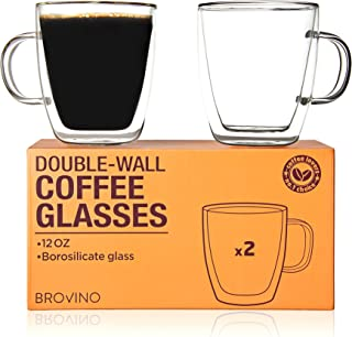 Large Double Wall Glass Coffee Mugs with Handle - Set of 2 Insulated Tea Glass Cups of 12 oz - 350 ml