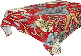 Jojogood William Morris Strawberry Thief Home Decoration Polyester Tablecloth 60x120(in), Modern Desk Sofa Table Cloth Cover for Wedding Party Decor