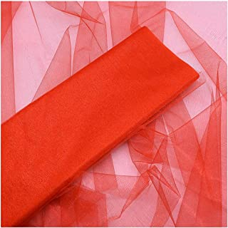 5 M48cm Sheer Crystal Organza Tulle Roll Fabric Gauze for Wedding Decoration Arches Chair Supplies,T07 Red,5M