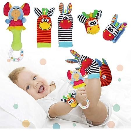 Synchain Baby Rattle Toy Neonato, 5 Pack Neonato Sonagli Calzini Polso,Simpatici Animaletti Developmental Soft Toys Bambole per Neonati 0-12 Mesi Bambini