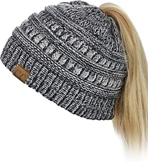 BeanieTail Soft Stretch Cable Knit Messy High Bun...