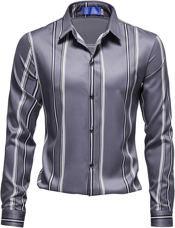 XUNFUN Long Sleeve Shirts for Men Button Up Slim Fit Casual Business Formal Striped Print Work Dress Shirt Blouse