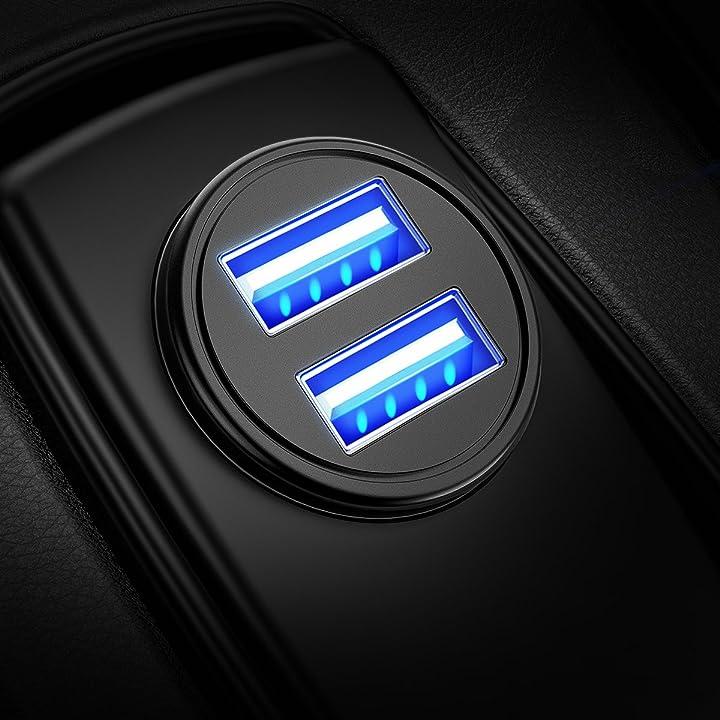Caricabatteria auto usb, 4.8a caricatore adattatore universale caricabatterie da auto V801_SML