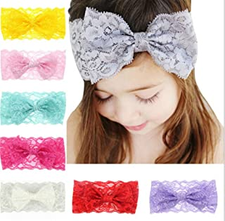 IMagicoo 8 PCS Baby Girl's Beautiful Soft Lace Turban Headbands Head Wrap Knotted Hair Band Mixed Color (1)