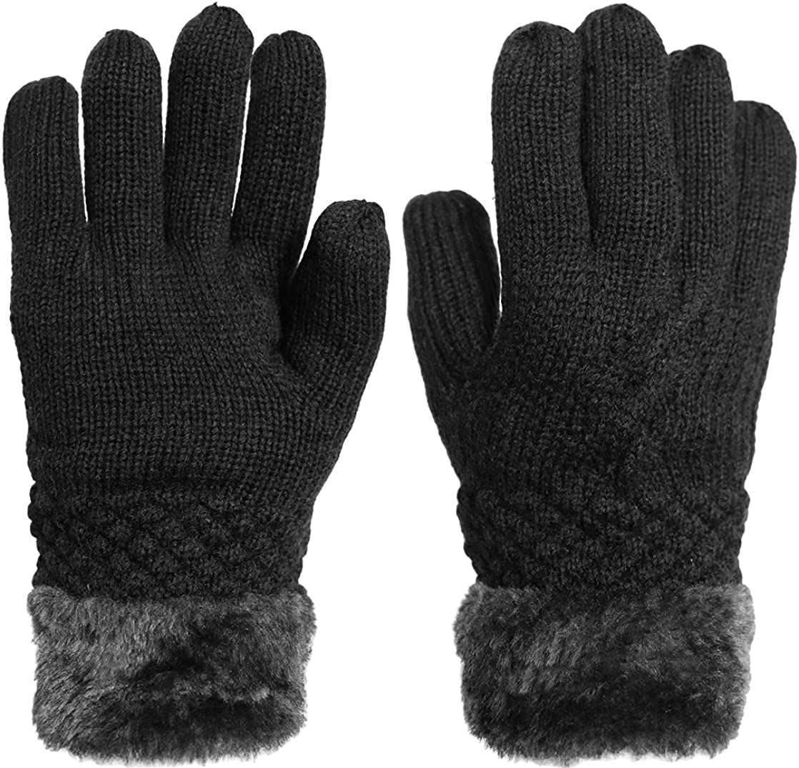 KMystic Women's Thick Knitted Warm Winter Gloves