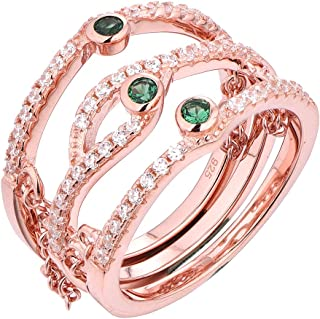Wuziwen Green Cz Triple Layer with Chain Knuckle Ring for Women Rose Gold Plated 925 Sterling Silver