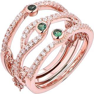 Wuziwen Green Cz Triple Layer مع سلسلة ربط خاتم للنساء روز الذهب مطلي 925 فضة استرليني