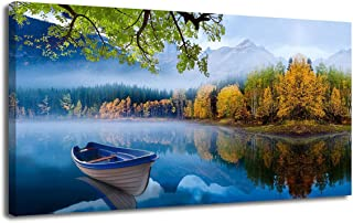 """Canvas Wall Art Prints Blue Sky Lake Natural Landscape One Panel 40""""x20"""" Panoramic Mountain Picture Artwork Autumn Framed Painting Ready to Hang for Living Room Bedroom Kitchen Bathroom Decorations"""