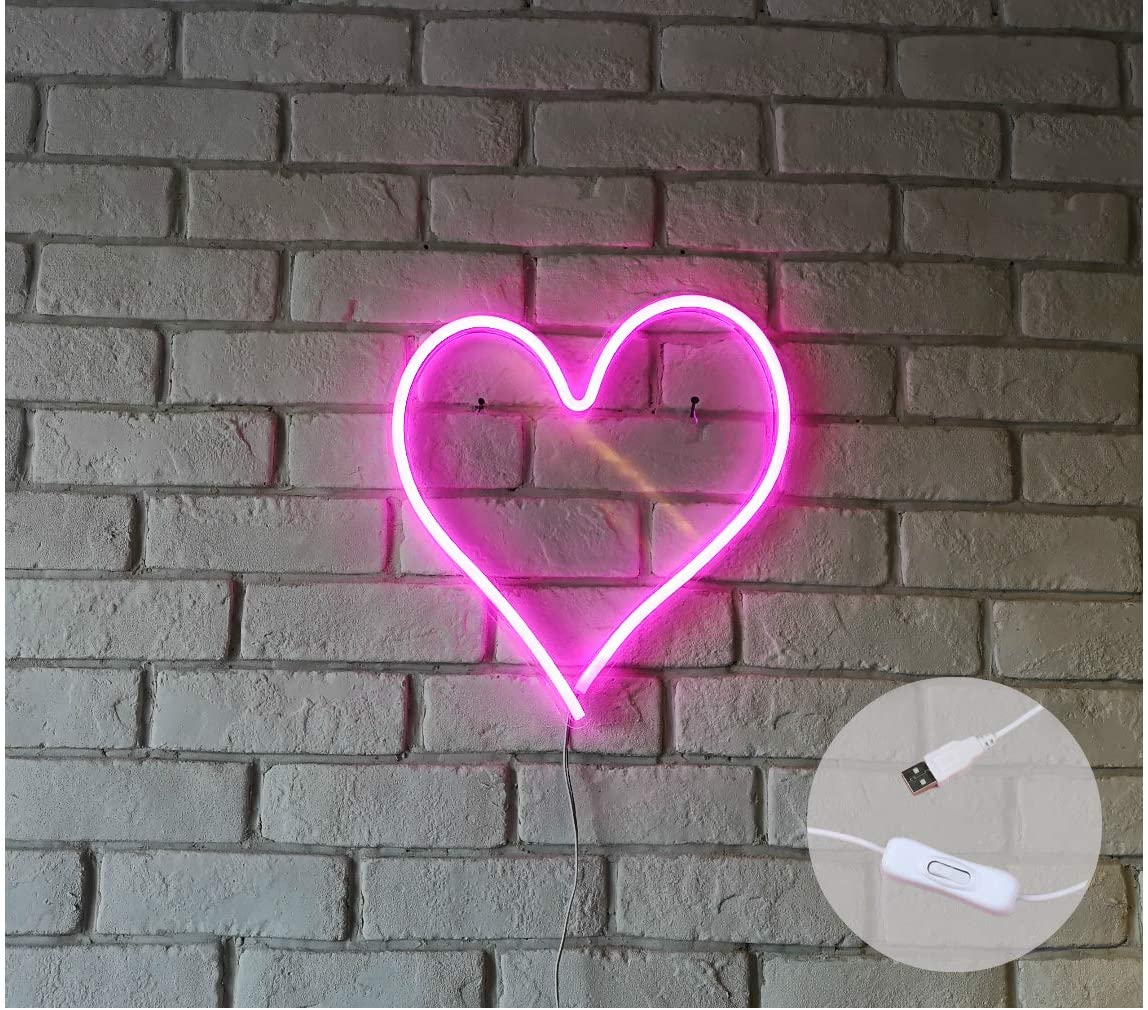 """Britrio LED Neon Max 54% OFF Light Sign Heart Shape 13.4""""x12.6"""" famous N"""