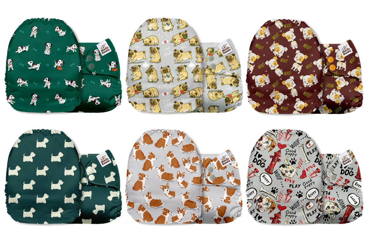 A Caterpillars Daily Mama Koala One Size Baby Washable Reusable Pocket Cloth Diapers 6 Pack Cloth Nappies Without Inserts